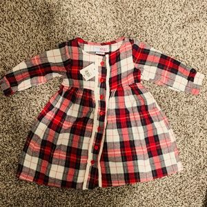 BABY GIRL RED PLAID DRESS 9 MONTH NWT